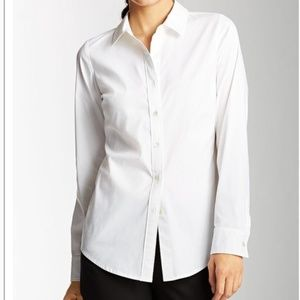 J.jill essential white cotton blend shirt